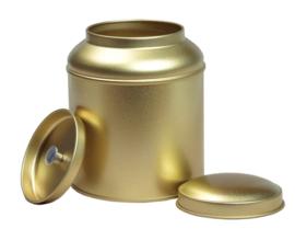 Theeblik rond met extra binnendeksel - 100 gram - Goud