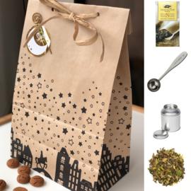 Sinterklaas Cadeau - Theeblik, maatschep, theefilters & witte thee