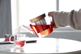 Kerst Cadeau - Glazen theepot & 2 soorten kruiden thee