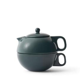 Theepot 'Jaimi Tea for 1' - porselein met filter  0,3 liter - Donkergroen - Viva Scandinavia