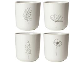 Theemokken Set - Wit met bloemen - 300 ml - Gusta