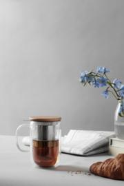 Dubbelwandig theeglas met filter en houten deksel 0,55 liter - Viva Scandinavia