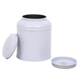 Theeblik rond met extra binnendeksel - 200 gram - Wit