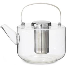 Theepot 'Bjorn' - glas met filter 1,3 liter - Zilverkleurig - Viva Scandinavia