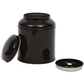 Theeblik rond met extra binnendeksel - 200 gram - Zwart
