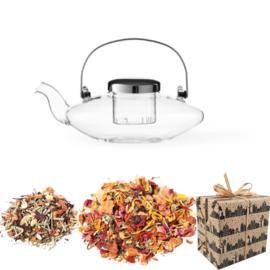 Sinterklaas Cadeau - Glazen theepot met filter & 2 soorten Kruiden Thee