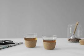Viva Scandinavia - Cortica Theeglazen 0,2 liter - kurk - set van 2 stuks