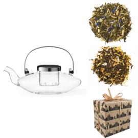 Sinterklaas Cadeau - Glazen theepot  & 2 soorten Groene Thee