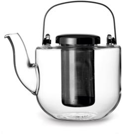 Theepot 'Bjorn' - glas met filter 0,75 liter - Zilverkleurig - Viva Scandinavia