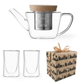 Sinterklaas Cadeau - Glazen  Theepot & Dubbelwandige theeglazen