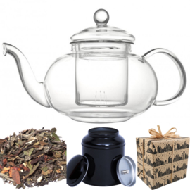 Sinterklaas Cadeau - Glazen theepot, theeblik & witte thee