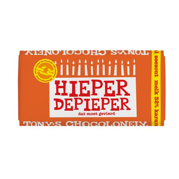 Chocolade - Hieper De Pieper - Melk Karamel Zeezout - Tony's Chocolonely