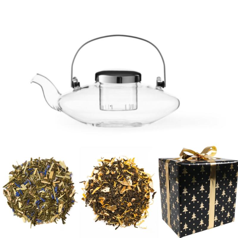 Kerst Cadeau - Glazen Theepot & 2 soorten groene thee