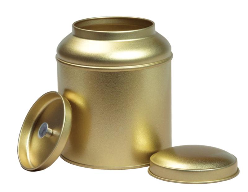 Theeblik rond met extra binnendeksel - Goud