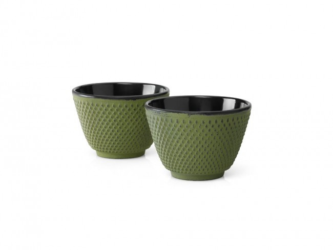Theekopjes 'Xilin' - Groen - Set van 2 stuks - Bredemeijer