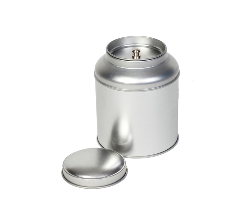 Theeblik rond met extra binnendeksel - 100 gram - Zilver