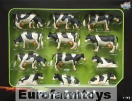 Kidsglobe 571929 zwarte-bonte koeien set 12st.