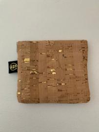 Knijp portefeuille kurk beige / goud