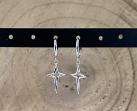 Hangoorbellen stainless steel zilver lange ster