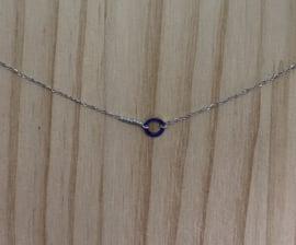 Ketting kort zilver rondje met pareltjes