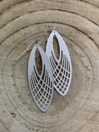 Hangoorbellen mat zilver open ellips