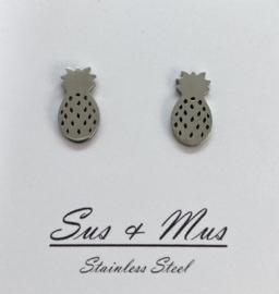 Stainless steel zilver ananassen