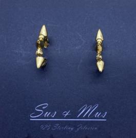 Zilver goud ringetje met pinnetjes