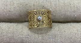 Ring stainless steel goud met mini wit steentje