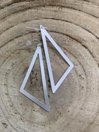 Hangoorbellen mat zilver open driehoek