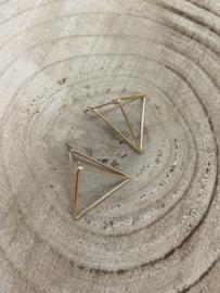 Hangoorbellen goud 3D driehoeken