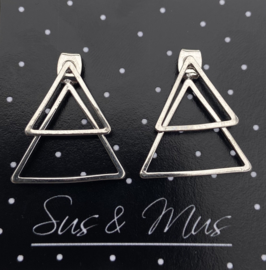 Speciale stekers zilver dubbele driehoek