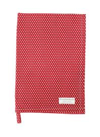 Theedoek rood met witte stippen - Krasilnikoff