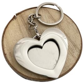 Foto sleutelhanger hart, verzilverd