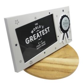 Fotolijstje 'Greatest ever Grandad', licht grijs (liggend)