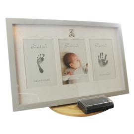 Fotolijst voor hand en voetafdrukje, licht grijs