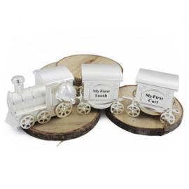 Trein voor tandjes en haartjes met beertje, 3-delig, verzilverd