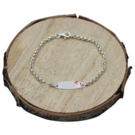 Baby plaat armbandje met eenhoorn, zilver
