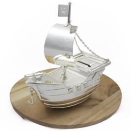 Spaarpot Piratenschip, verzilverd