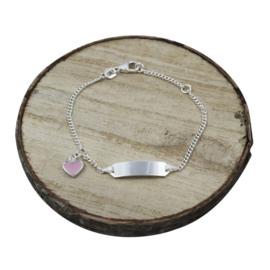 Baby plaat armbandje met roze bedel, zilver