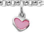 Initiaal armbandje met bedeltje, hart zilver