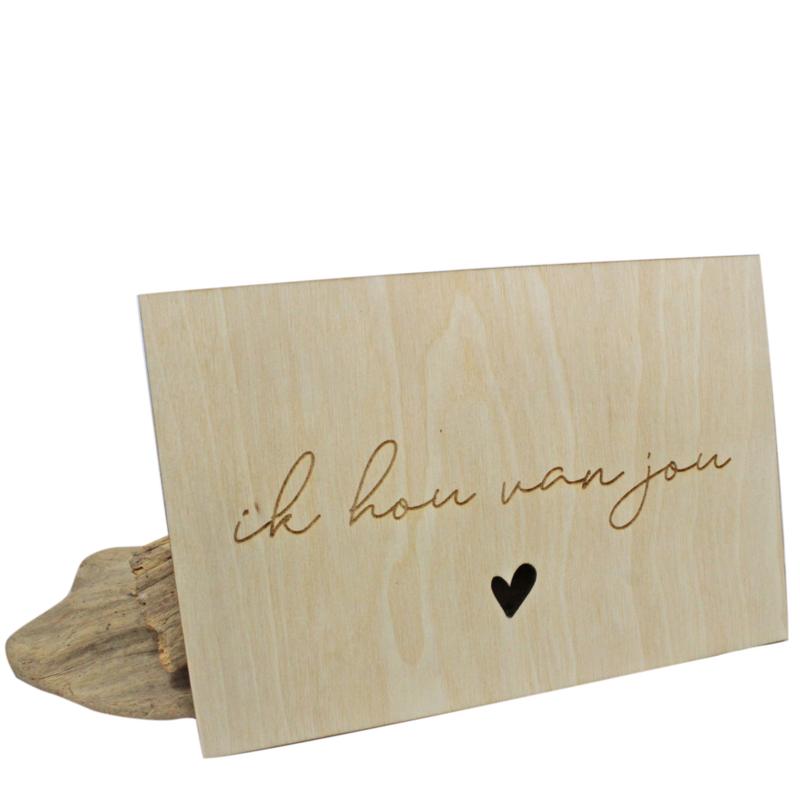 Houten kaart, 'Ik hou van jou'