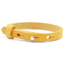 Leren armbandje geel/oker