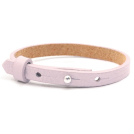 Leren armbandje licht roze