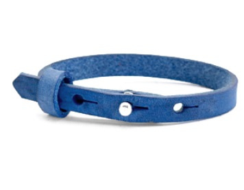 Leren SOS-bandje blauw