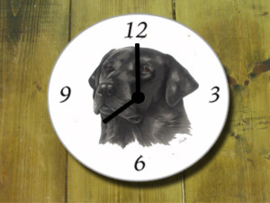 Clock black Labrador, per 1 piece