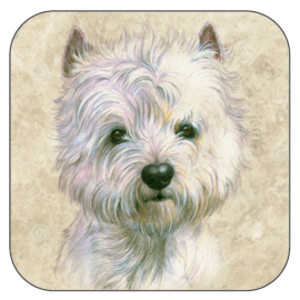 Coaster West Highland White Terrier, per 3 pieces