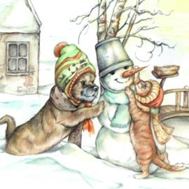 Winterprint - Sneeuwpop bouwen