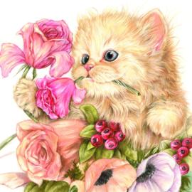 Bedankt - Bos bloemen en pers, per stuk