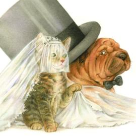 Huwelijksbootje - Kat en Sharpei wagen de gok, per stuk