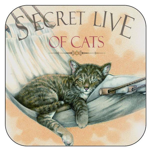 """Onderzetter Katten """"Secret Live of Cats""""2 - afgeronde hoeken - 9,5 x 9,5 cm, per 3 stuks"""